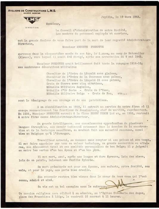 Auguste Frerotte Belgian War Hero Died At Natzweiler